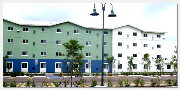 HUD Section 202 elderly housing and goverment grants community development at St. Monica Gardens in Miami Florida.